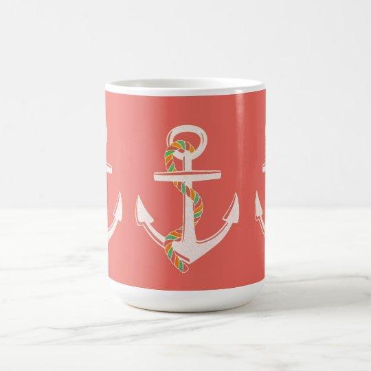 Anchor's Away_Rope_Coral-White-Giftware Magic Mug