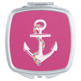 Anchor's Away_Rope_Pink-White Travel Mirror