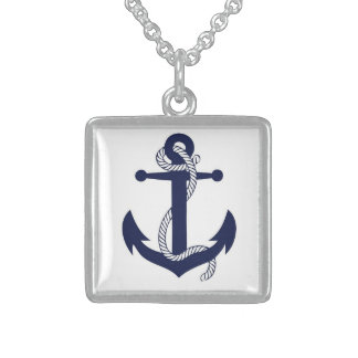 Anchors Away Square Pendant Necklace