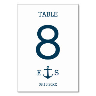 Anchors Away - Table Number Table Card