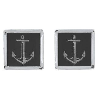 Anchors aweigh cufflinks, square silver finish cufflinks