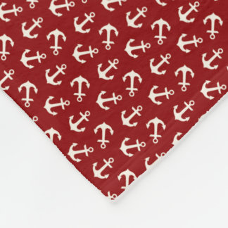 Anchors Aweigh Nautical Pattern in Red and White Fleece Blanket