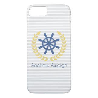 Anchors Aweigh Nautical Ships Wheel Stripes iPhone 7 Case