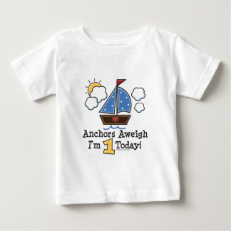 Anchors Aweigh Sailboat 1st Birthday T-shirt