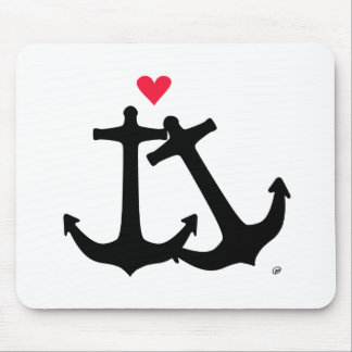 Anchors In Love Mouse Mat