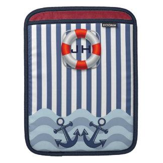 Anchors, Lifebuoy, patterns & Monogram iPad sleeve