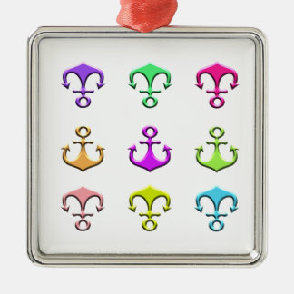 anchors of colors christmas ornament