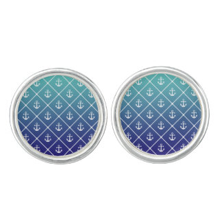 Anchors on gradient teal to blue background cuff links