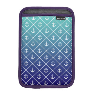 Anchors on gradient teal to blue background iPad mini sleeve