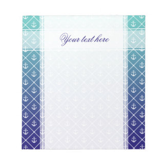 Anchors on gradient teal to blue background notepad