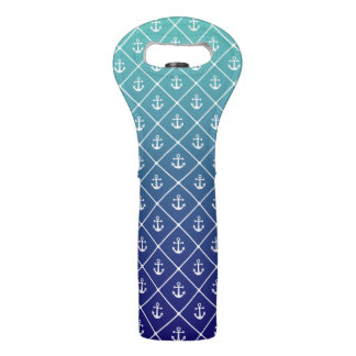 Anchors on gradient teal to blue background wine bag