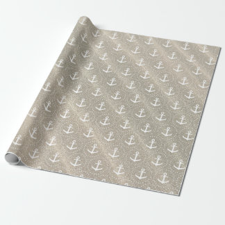 Anchors on sandy background wrapping paper