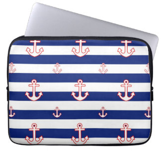 Anchors on Stripes Nautical Pattern Laptop Sleeve