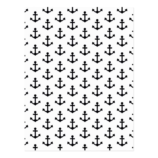 Anchors Pattern Nautical Black White Sailor Postcard