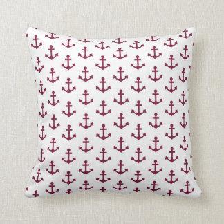 Anchors Pattern Nautical Burgundy Red Maroon White Cushion