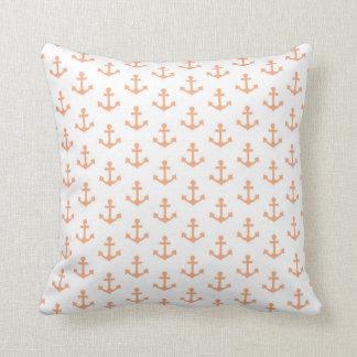 Anchors Pattern Nautical Peach Orange White Sail Throw Pillow