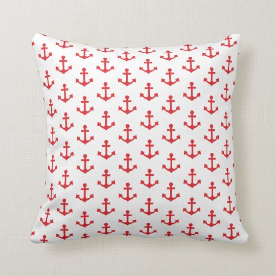Anchors Pattern Nautical Red White Sailor Throw Pillow