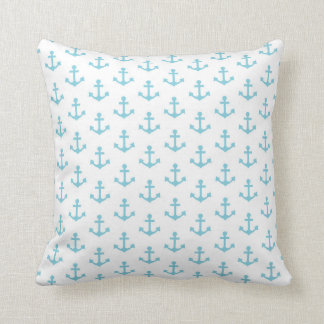 Anchors Pattern Nautical Sky Blue White Sail Throw Pillow