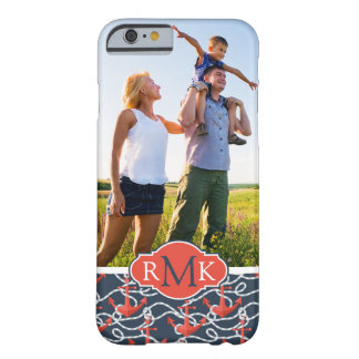 Anchors & Rope Pattern   Your Photo & Monogram Barely There iPhone 6 Case