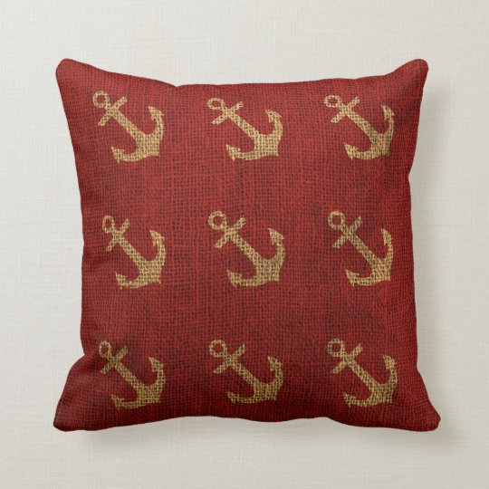Anchors Rustic Red Cushion