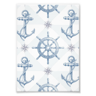 Anchors & Ship Wheel Pattern Photo Print