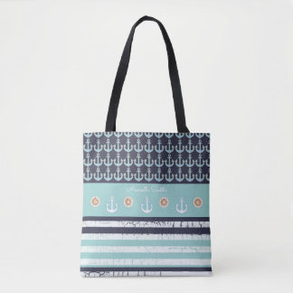 anchors & stripes nautical & personalized blue tote bag