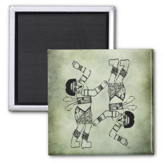 ancient african tribal symbols linocut square magnet