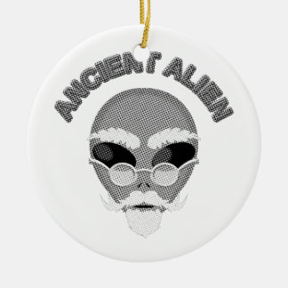 Ancient Alien Head Newsprint Christmas Ornament