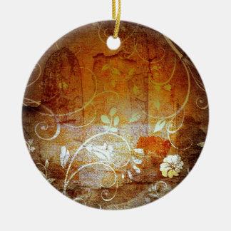 Ancient Antique Wallpaper Pattern Dark Eerie Desig Round Ceramic Decoration