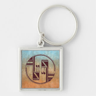 Ancient Arts Native American Silver-Colored Square Key Ring