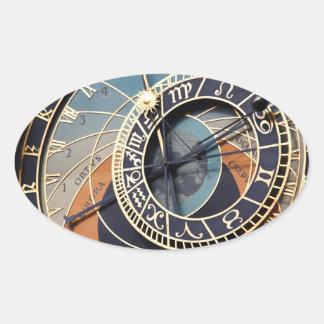 Ancient Astrology Timepiece Czech Clock. Oval Sticker