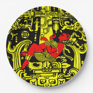 Ancient Astronaut – yellow & red version 9 Inch Paper Plate