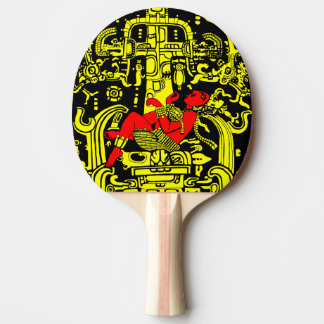 Ancient astronaut yellow & red version ping pong paddle