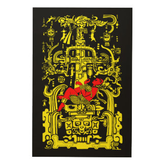 Ancient astronaut yellow & red version wood wall decor