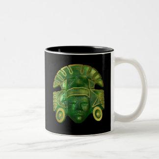 Ancient Aztec Sun Mask Two-Tone Coffee Mug