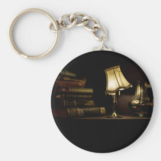 Ancient books, lamp shade and jug basic round button keychain