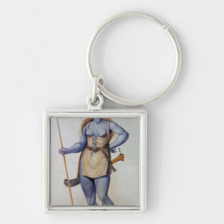 Ancient British Woman Silver-Colored Square Key Ring