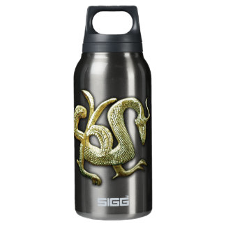 Ancient bronze chinese dragon insulated water bottle