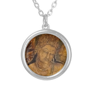 Ancient Buddhist Painting Round Pendant Necklace