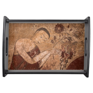Ancient Buddhist Painting Serving Tray