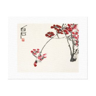 Ancient China Painting-Qi Baishi-Red Wintersweet Canvas Print