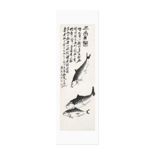 Ancient China Painting-Qi Baishi-Three Carp Canvas Print