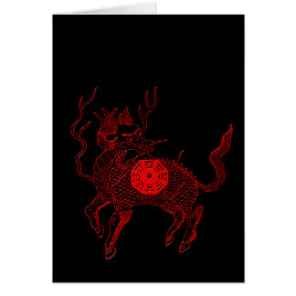 Ancient chinese auspicious dragon horse Lung Ma Greeting Card