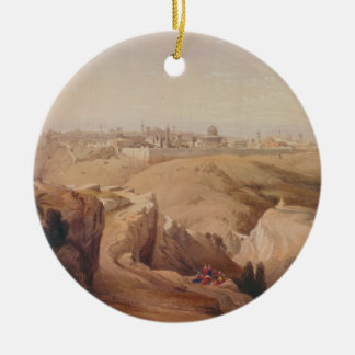 Ancient City of Jerusalem from the Mount of Olives Round Ceramic Decoration
