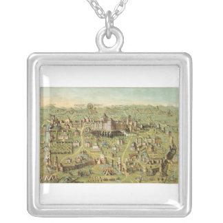 Ancient city of Jerusalem with Solomon's temple Square Pendant Necklace