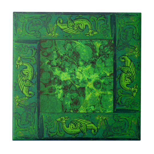 Ancient Designs In Emerald Third Of Four Small Square Tile