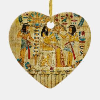 Ancient Egypt Tapestry Scroll Heirogliphics Ceramic Heart Decoration