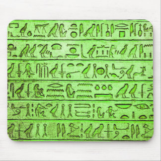Ancient Egyptian Hieroglyphs Green Mouse Pad