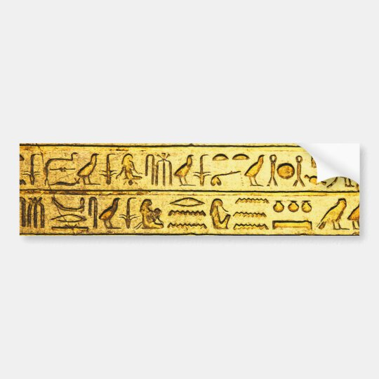 Ancient Egyptian Hieroglyphs Yellow Bumper Sticker