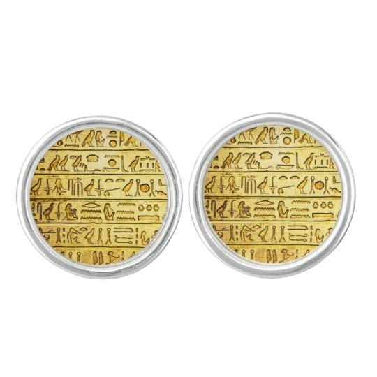Ancient Egyptian Hieroglyphs Yellow Cufflinks